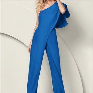 Venus Royal Blue One Shoulder Jumpsuit